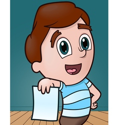 Boy with copy space paper vector