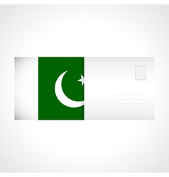 Envelope with flag of pakistan card vector