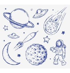 Space doodle set elements vector