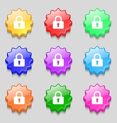 Pad lock icon sign symbol on nine wavy colourful vector