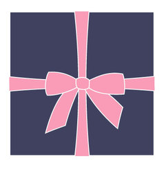 Dark blue box and pink bow vector
