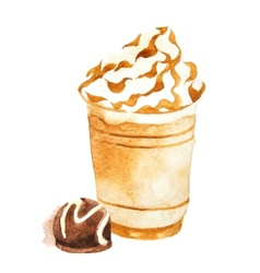 Watercolor coffee in plastic cup vector