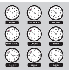Time zones black and white clock set eps10 vector