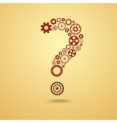 Question mark from gears vector