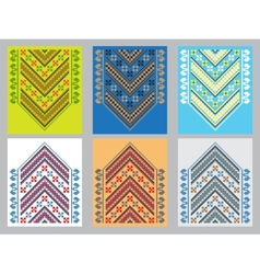 Set of ethnic ornament pattern in different colors vector