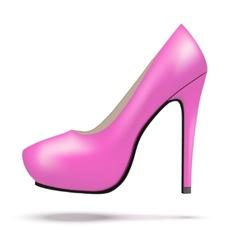 Pink bright modern high heels pump woman shoes vector