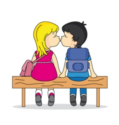 Teen kissing in a bank vector