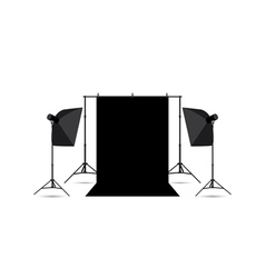 Two softboxes and black photo background isolated vector