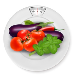 A scale with vegetables diet concept vector