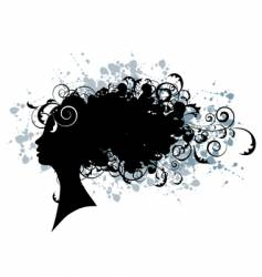 Floral hairstyle woman face silhouette vector