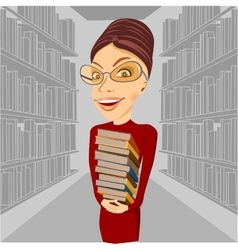 Smiling librarian with glasses holding books vector