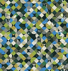 Seamless aged mosaic background in green and blue vector