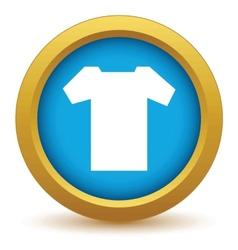 Gold tee shirt icon vector