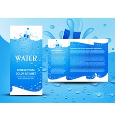 Brochure folder water aqua splash bootle element vector