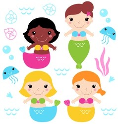 Adorable little mermaid set isolated on white vector