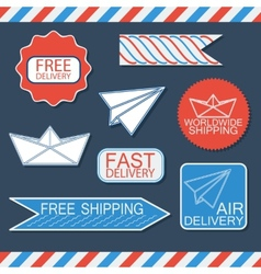 Set of delivery badges and labels bluewhite and vector