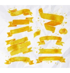 Watercolors ribbons yellow vector