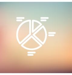 Pie chart thin line icon vector