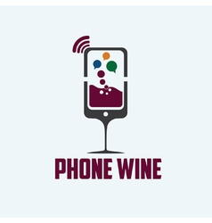 Phone wine concept vector
