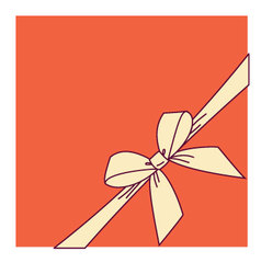 Orange box and yellow bow vector