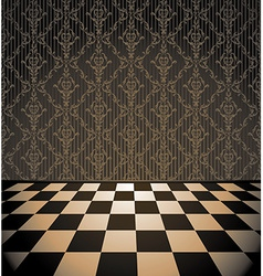 Brown room with checkered floor vector