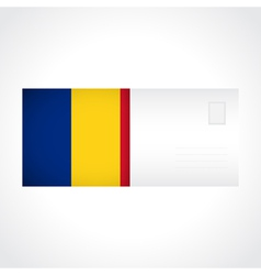 Envelope with romanian flag card vector