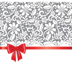 Lace red ribbon and bow vector