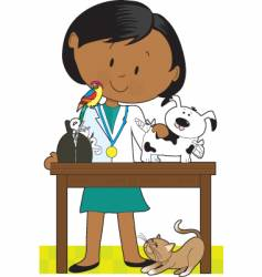 Black woman vet and pets vector