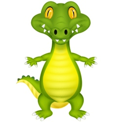 Cute cartoon crocodile vector