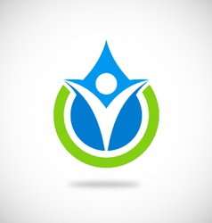 Eco people pure water logo vector