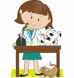 Woman vet and pets vector