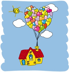 House flying with balloons vector
