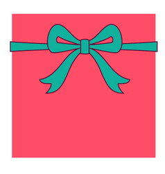 Red box and turquoise bow vector