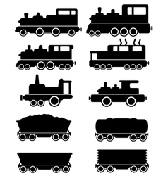 Set train and railroad car vector