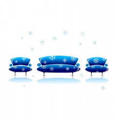 Sofa and armchair christmas design vector