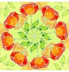 Decorative ornate poppy flowers circle vector