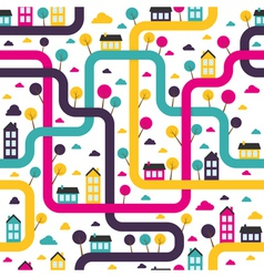 Background seamless pattern with abstract town vector