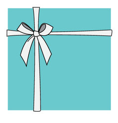 Turquoise box and white bow vector