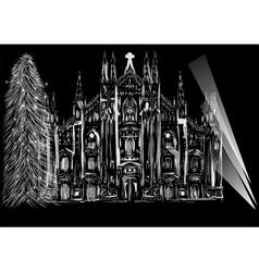 Cathedral and christmas tree vector