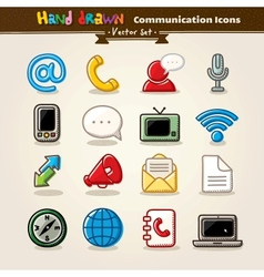 Hand draw communication icon set vector