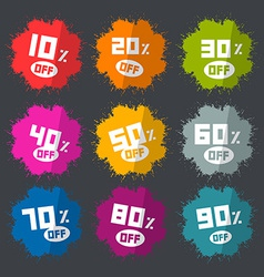 Splash discount labels set on dark background vector