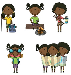 African-american camping girls vector