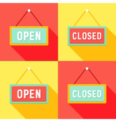 Yellow red cyan open and closed signs set vector