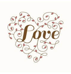 Floral heart with love word - for valentines day vector