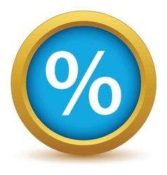 Gold percentage icon vector