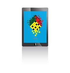 Tablet pc with blue screen and rubik icon vector