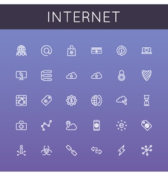 Internet line icons vector