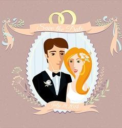 Vintage wedding invitation with happy couple vector