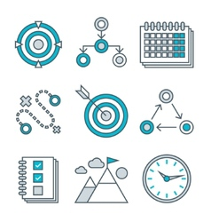Flat line icons set of competitive advantage vector