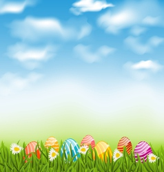 Easter natural landscape with traditional painted vector